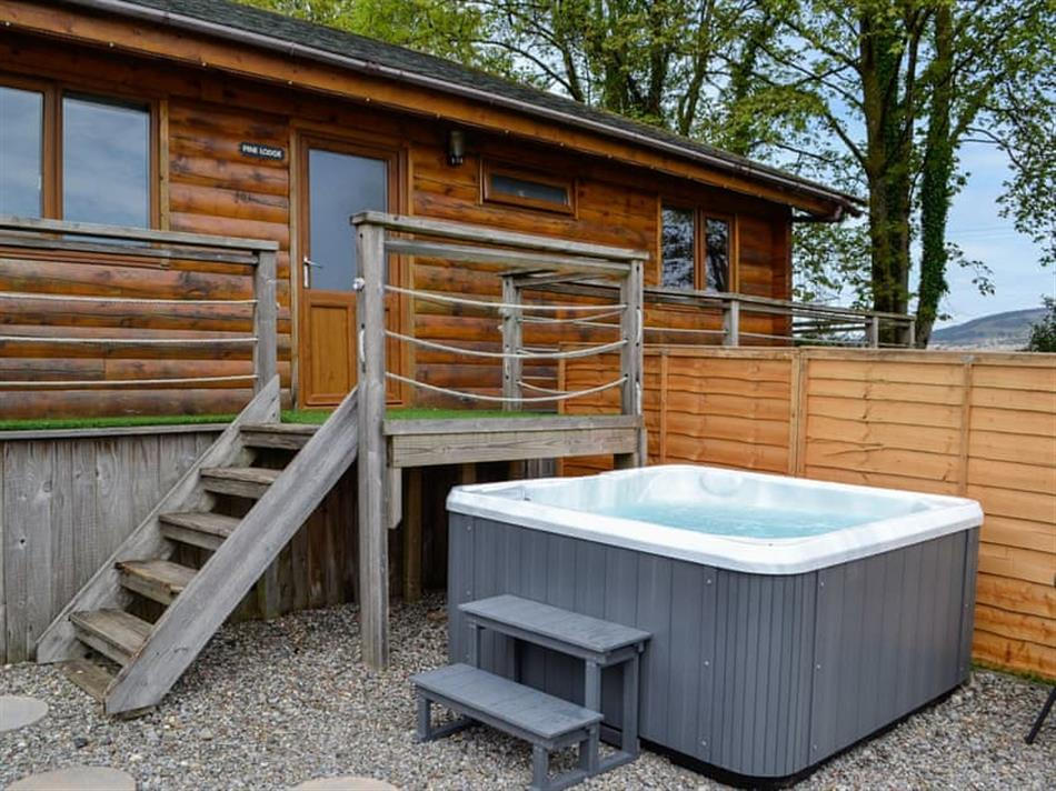 Garden with the hot tub at Rose Cotterill Cabins - Pine Lodge, Bryncoch, near Neath, Glamorgan