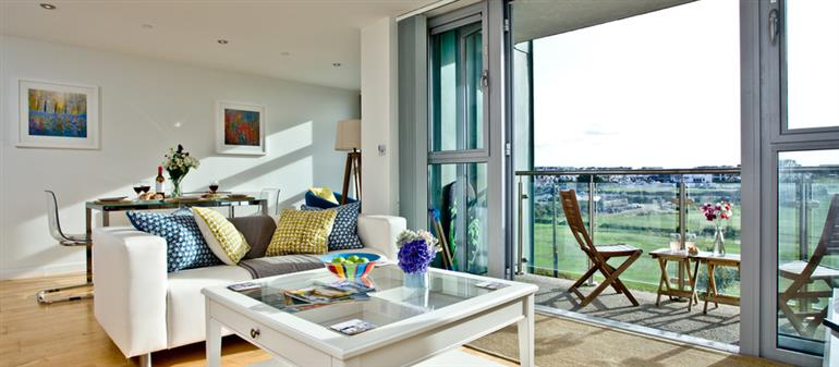 Living room in 26 Zinc Apartments, Newquay